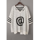 Casual Loose V Neck 3/4 Sleeve Striped Pattern Knit Hollow Out T-Shirt