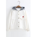 Contrast Hooded Embroidery Ice Cream Pattern Single Breasted Denim Jacket