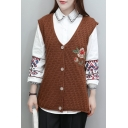 New Arrival Sleeveless Single Breasted V-Neck Embroidery Floral Vest Cardigan