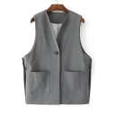 New Arrival Basic Simple Plain Sleeveless Vest Coat with Double Pockets