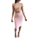 Sexy Halter Sleeveless Sequined Top with Plain Midi Pencil Skirt