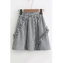 Classic Plaids Pattern Elastic Waist Ruffle Hem Mini A-Line Skirt