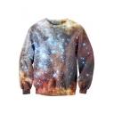 Color Block Galaxy Printed Long Sleeve Round Neck Pullover Sweatshirt
