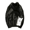 Fashion Contrast Cat and Fish Bone Printed Zipper Placket Hooded Coat