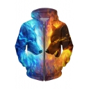 New Collection Digital Wolf Pattern Long Sleeve Zip Up Hoodie