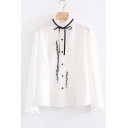 Tied High Neck Single Breasted Long Sleeve Embroidery Pattern Shirt