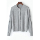 Basic Simple Plain Long Sleeve Round Neck Single Breasted Cardigan