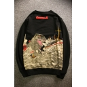 New Collection Chic Cartoon Monster Boat Pattern Long Sleeve Round Neck Sweatshirt