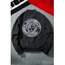 New Collection Character Embroidered Stand-Up Collar Zip Up Bomber Jacket