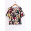 Summer's Floral Printed Round Neck Short Sleeve Chic Ruffle Hem Blouse