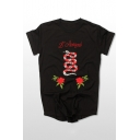 Hip Hop Street Style Snake Floral Embroidered Round Neck Short Sleeve Tee