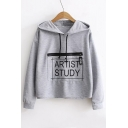 New Stylish Zip Embellished Letter Pattern Long Sleeve Loose Leisure Hoodie