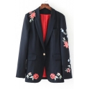Chic Floral Embroidered Notched Lapel Collar Long Sleeve Blazer with Single Button