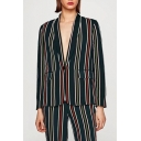 Classic Striped Pattern Lapel Collar Long Sleeve Blazer Coat with Single Button