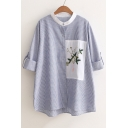 Chic Leaves Embroidery Patched Striped Pattern Long Sleeve Buttons Down Shirt