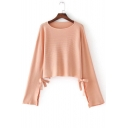New Arrival Bow Detail Split Long Sleeve Round Neck Plain Cropped Pullover Sweater