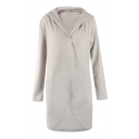 Simple Hooded Long Sleeve Open Front Plain Tunic Coat with Two Pockets