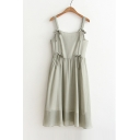 Retro Striped Pattern Bow Tie Embellished Midi Plain A-Line Chiffon Slip Dress