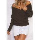 New Arrival Chic Wrap V Neck Long Sleeve Simple Plain Sweater