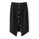 Fashion Buttons Down Split Front Simple Plain Midi Denim Skirt