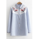 Hollow Out Embroidery Floral Pattern Long Sleeve Lapel Single Breasted Striped Shirt