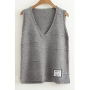 Chic Letter Embroidered Patched V Neck Sleeveless Tank Sweater