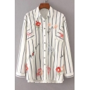 Chic Floral Embroidered Striped Print Long Sleeve Buttons Down Shirt