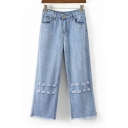 Fashion Ripped Out Fringe Hem Basic Simple Plain Wide Legs Jeans