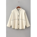 Contrast Stitching Round Neck Long Sleeve Buttons Down Cardigan