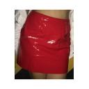 New Fashion High Waist Paint Leather Plain Mini A-Line Skirt