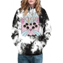 Digital Cartoon Cat Printed Long Sleeve Casual Loose Hoodie