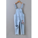 Leisure Embroidery Floral Pattern Cutout Knee Denim Overalls