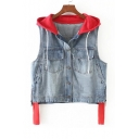 Contrast Hooded Sleeveless Single Breasted Zip Sides Denim Vest