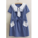 New Arrival Color Block Collared Short Sleeve Drawstring Waist Mini Smock Dress