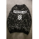 Color Block Letter Printed Long Sleeve Round Neck Pullover Sweatshirt
