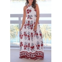 New Arrival Halter Neck Fashion Floral Pattern Holiday Beach Maxi Dress