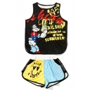 Lovely Cartoon Letter Pattern Round Neck Tank with Loose Shorts Sports Set