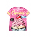 Summer's Cute Strawberry Letter Print Round Neck Short Sleeve T-Shirt