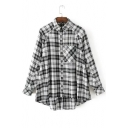 Chic Plaids Pattern Lapel Collar Long Sleeve Buttons Down Shirt with Single Pocket