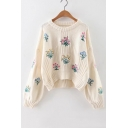 Chic Floral Embroidered Dipped Hem Round Neck Long Sleeve Cropped Sweater