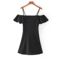 Chic Ruffle Sleeve Cold Shoulder Spaghetti Straps Mini Plain A-Line Dress