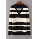Long Sleeve V Neck Chic Striped Pattern Casual Leisure Pullover Sweater