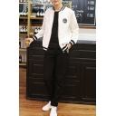 Unisex Fashion Stand-UP Collar Zipper Placket Bomber Jacket with One Sport Pants