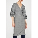 Women's Wrap V-Neck Ruched Multi-Layered Long Sleeve Plaid Midi Dress