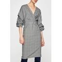 Women's Wrap V-Neck Ruched Multi-Layered Long Sleeve Plaid Midi Dress