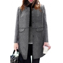 Oversize Fashion Collarless Long Sleeve Single Breasted Plain Tunic Woolen Coat