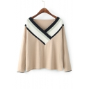 New Arrival Fashion Color Block Striped Pattern V Neck Long Sleeve Sweater