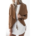 Chic Simple Plain Open Front Long Sleeve Casual Coat