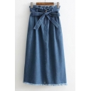 Fashion Belt Waist Split Front Fringe Hem Plain Maxi Denim Skirt