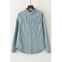 Women's Lapel Long Sleeve Single Breasted Plain Basic Denim Shirt